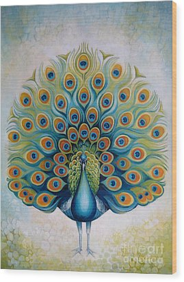 Peacock Wood Print by Elena Oleniuc