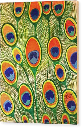 Peacock Feather Frenzy Wood Print