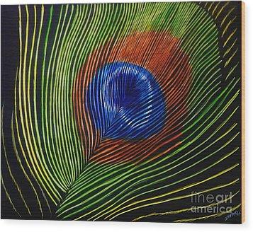 Peacock Feather Wood Print by Jennifer Jeffris