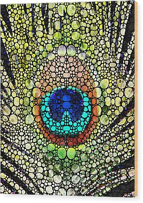 Peacock Feather - Stone Rock'd Art By Sharon Cummings Wood Print by Sharon Cummings