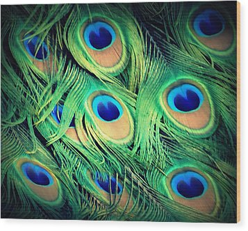 Wood Print featuring the photograph Peacock Feathers by David Mckinney