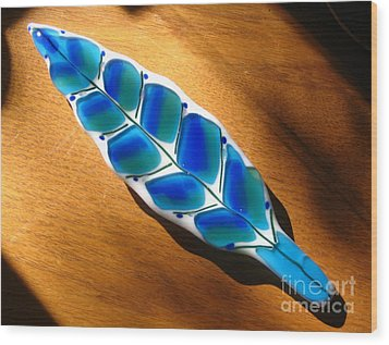 Peacock Fused Glass Leaf Wood Print by Donna Spencer