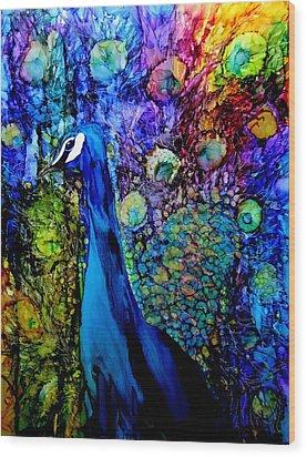 Peacock II Wood Print by Karen Walker