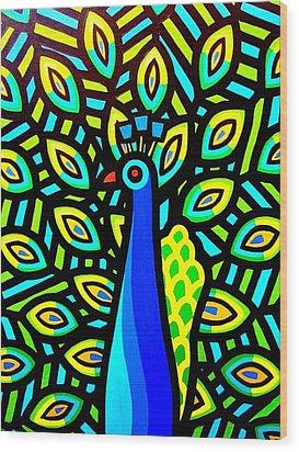 Peacock Iv Wood Print by John  Nolan