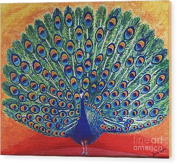 Wood Print featuring the painting Peacock By Jasna Gopic by Jasna Gopic