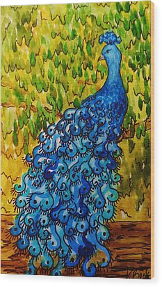 Wood Print featuring the painting Peacock by Katherine Young-Beck