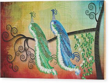Wood Print featuring the digital art Peacock Love by Kim Prowse