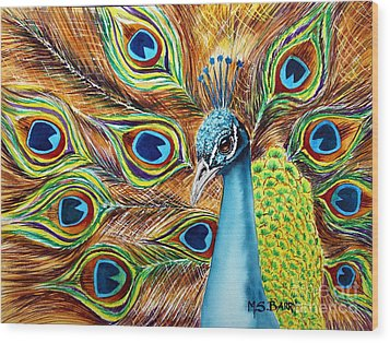 Peacock Wood Print by Maria Barry