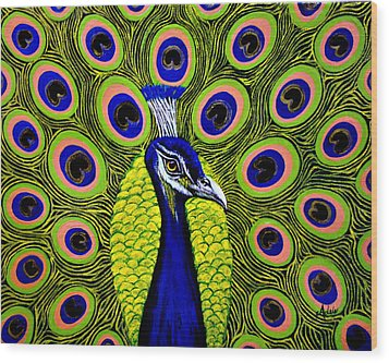 Peacock Mistique Wood Print by Adele Moscaritolo