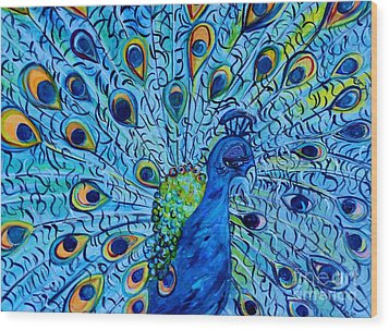 Peacock On Blue Wood Print by Eloise Schneider