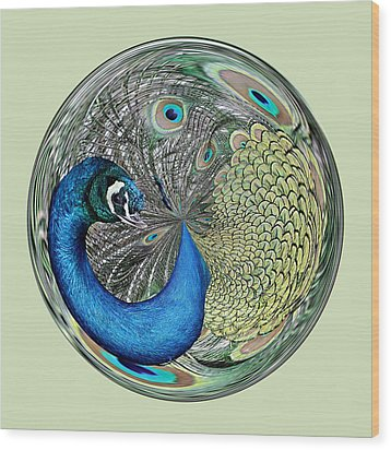Peacock Orb Wood Print by Paulette Thomas
