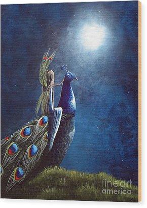 Peacock Princess II By Shawna Erback Wood Print by Shawna Erback
