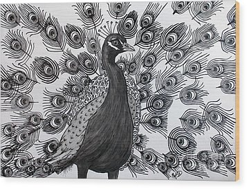 Wood Print featuring the drawing Peacock Walk by Megan Dirsa-DuBois
