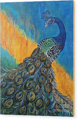 Peacock Waltz #3 Wood Print