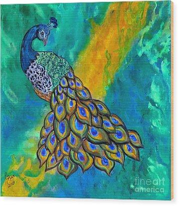 Peacock Waltz II Wood Print