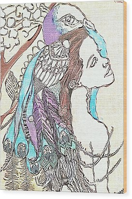 Peacock Woman 2 Wood Print by Amy Sorrell