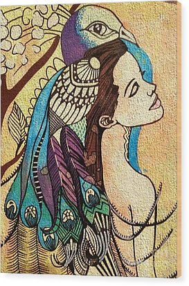 Peacock Woman Wood Print by Amy Sorrell