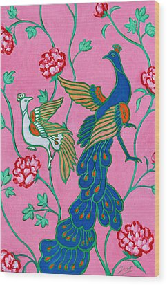 Peacocks Flying Southeast Wood Print by Xueling Zou