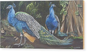 Peacocks In The Garden Wood Print by Phyllis Beiser