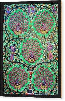 Peacocks-madhubani Painting Wood Print