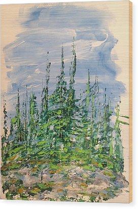 Peak Of Pines Wood Print