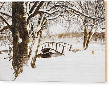 Peaks Snow Bridge Wood Print by Mark East