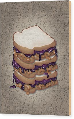 Peanut Butter And Jelly Sandwich Wood Print by Ym Chin