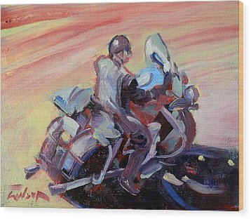Peanut Lid Biker - Skid Lid Helmet Wood Print by Ron Wilson