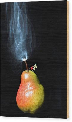 Pear And Smoke Little People On Food Wood Print