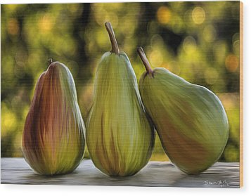 Wood Print featuring the painting Pear Buddies by Sharon Beth