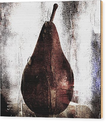 Pear In Window Wood Print by Carol Leigh