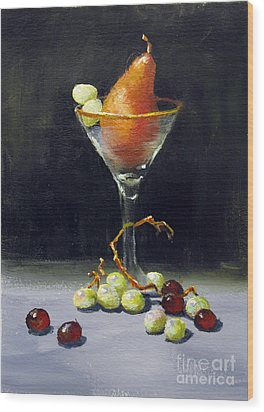 Wood Print featuring the painting Pear Martini by Carol Hart