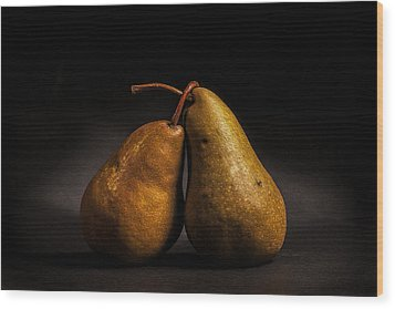 Pear Of Lovers Wood Print by Peter Tellone