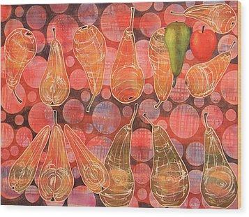 Pear Sphere Wood Print by Adel Nemeth