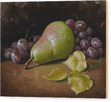 Pear With Birch Leaves Wood Print by Timothy Jones
