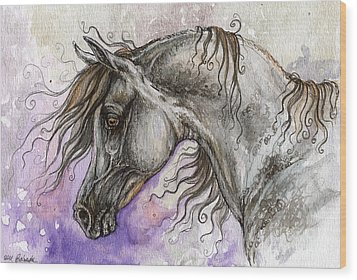 Pearl Arabian Horse Wood Print by Angel  Tarantella