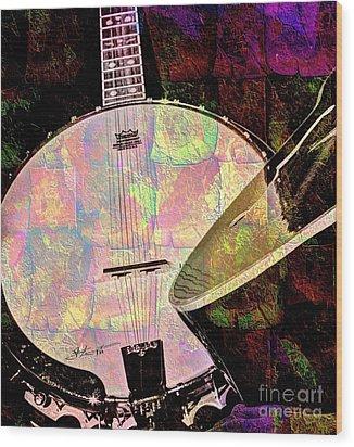 Pearl Digital Banjo And Guitar Art By Steven Langston Wood Print by Steven Lebron Langston