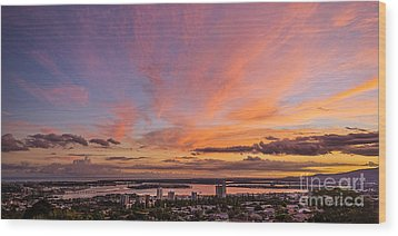 Wood Print featuring the photograph Pearl Harbor At Sunset by Aloha Art