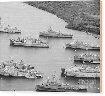 Pearl Harbor Battleships Wood Print