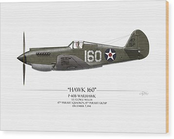 Pearl Harbor P-40 Warhawk - White Background Wood Print by Craig Tinder
