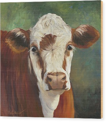 Wood Print featuring the painting Pearl Iv Cow Painting by Cheri Wollenberg