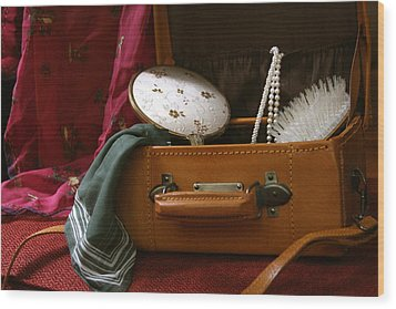 Pearls And Brush Set In A Suitcase Wood Print