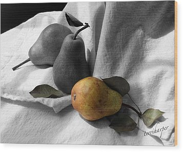 Wood Print featuring the photograph Pears - A Still Life by Terri Harper