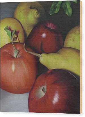 Pears And Apples Wood Print