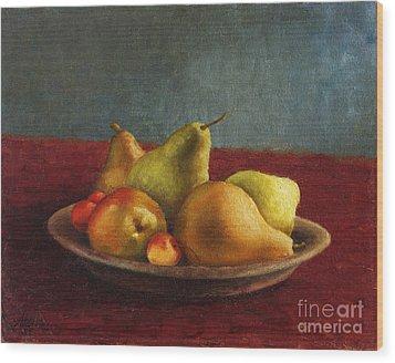 Pears And Cherries Wood Print