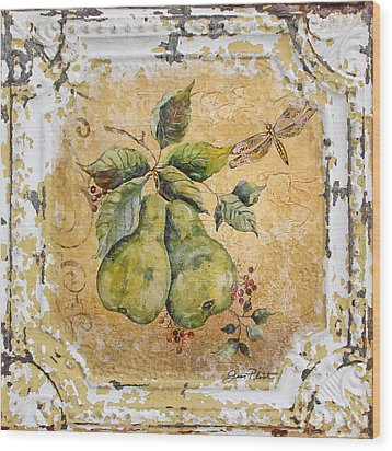 Pears And Dragonfly On Vintage Tin Wood Print by Jean Plout
