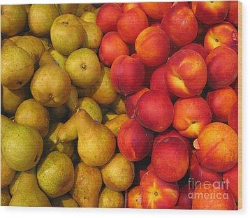 Pears And Peaches. Fresh Market Series Wood Print by Ausra Huntington nee Paulauskaite