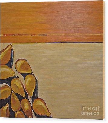 Pears Falling Wood Print by Amy Fearn