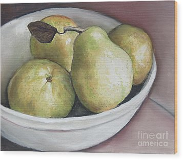 Pears In Bowl Wood Print by Charlotte Yealey