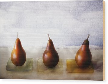 Pears In The Clouds Wood Print by Carol Leigh
